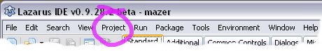 The Lazarus Menu Bar, with 'Project' circled in purple to help you find it.