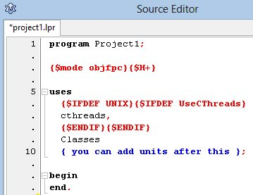 A new project in the Source Editor, with nothing between the begin and end