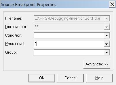 Setting breakpoint properties