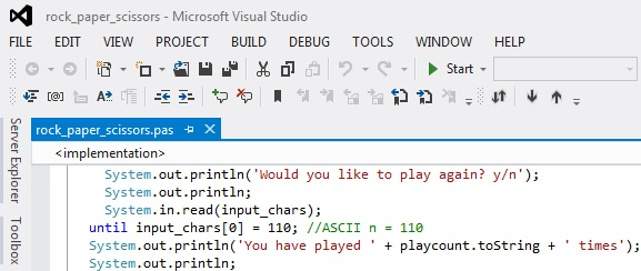 Oxygene program in the Visual Studio IDE