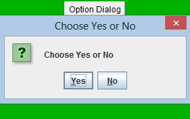 Yes/No option dialogue applet (280 x 180) in action